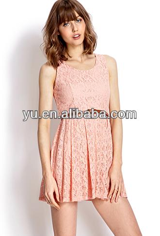 تصاميم فستان الدانتيل لون الآيس كريم مع حزام فستان المحرز في المصنع