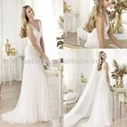 Sexy Beaded White Tulle Sheath Deep V Neck Wedding Dresses for Pregnant Women
