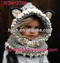 (RSH12768) Kids Hand Knit Animal Beanie Hat / Wolf Cowl Hat