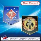 Brass stamping golden metal soft enamel medallion emblem with epoxy,gold plating souvenir coin military challenge medal award