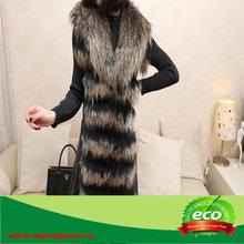 Double Colors Raccoon Fur and Rabbit Skin Women Long Fur Colete
