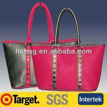 Leather Woman Handbag Fashion Tote bag with multiple pockets
