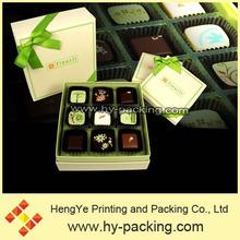 9pcs chocolates packaging box, gift chocolate pack box, chocolate box with tray and ribbon