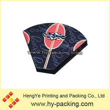 Chinese national feature fan gift box, unique design gift box with metal lock,cardboard fan shape gift box