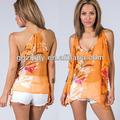 Deep v borboleta cleeve chiffon parte superior do tanque, roupas moda da tailândia