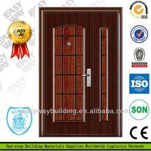 เหล็กดัดประตูราคาถูกประตูไม้มะฮอกกานีของแข็ง