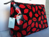 Lip print laminate make-up bag washbag large NEW