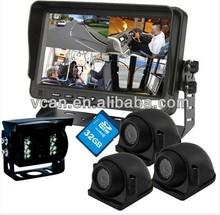 "Best 7"" TFT Car DVR with 4 cameras hdmi driver portable vehicle dvr 130 degree smart digital cheap safe driving guard dvr"