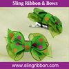Green Dot Sheer Grosgrain Ribbon Hair Clip Pet Dog Bow