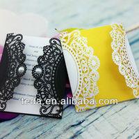 2014Teda Filigree Wedding favor invitation cards with Pearl