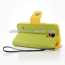 Double color design phone leather case for samsung galaxy s5 wholesale accept paypal