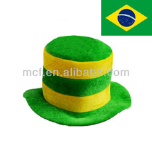 Funny Velvet Brazilian flag color football match fans top hat