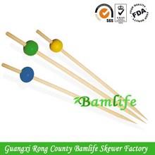 Modern custom ball bamboo knotted skewer