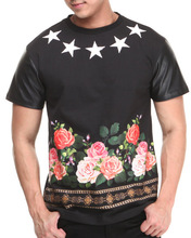 custom latest round neck stars and below beautiful flower Sublimation t shirt Full Graphic Printed T-shirt with leather sleeves
