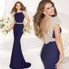 Latest Elegant V Back Beaded Full Figure Mermaid Evening Dresses