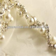 Bridal Applique, Bridal Rhinestone Trim for wedding dress