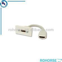 HDMI EURO MODULE 25mm X 50mm White 155mm lead. Euro / Clip in / Euro Fit. HDMI