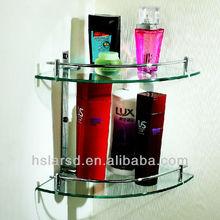 bathroom corner two layer glass shelf