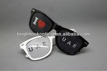 2014 Wholesale New Style Pinhole Glasses Printed Sunglasses With Pinhole Sticker Printing Custom Logo Glasses BSP2836
