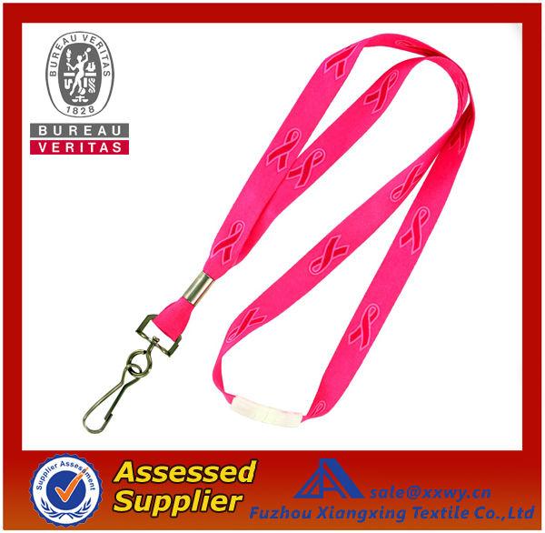 Custom Printed Logo DIY Super Safe Pink Awareness Nylon/Polyester Lanyard