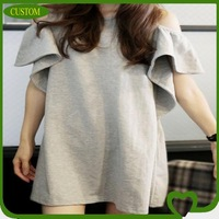 2013 new model plain women t-shirt with various color/whosale china manufacture lady clothing