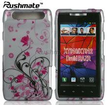 Silver Base Crystal 2D Mobile Phone Design Case Covers Hard Skins For Motorola RAZR XT910
