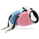 Free shipping!!!New bling rhinestone tracking dog leash automatic dog leash retractable dog lead