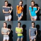 new fashion design girls plain raglan sleeve joker fake t shirts no brand heat press sticker