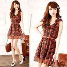 Women's Sweet Sleeveless V-neck Floral Bowknot Shoulder Mini Dress Sundress online wholesale shop