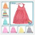 De uma peça meninas vestidos de festa longo Harlt Chevron vestido plissado para meninas crianças frock modelo