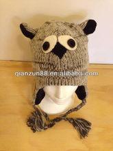 OWL Bird 100% Wool Pilot Ski Animal Winter Hat/Cap/Beanie Knit Handmade