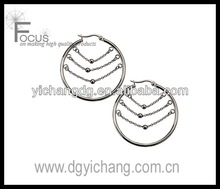 Women's Stainless Steel Three Balls on Chain Inside the Polished Hoop Earrings