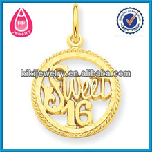 gold sweet 16 round charms jewelry accessory for bracelet