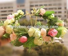 Hawaii Rose Flower Wreath Bridal Party Woman Girls Flower Hair Accessory