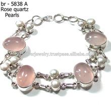 quartzo rosa gemstone jóias 925 sterling pulseira de prata
