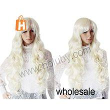 Stylish Kanekalon Fiber Side Bangs Full Lace Super Long Wet and Wavy Wig Woman Curly Hair