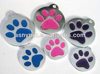 Glitter Paw pet ID Tags, Dog cat personalized custom engraving Aluminum enamel