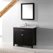 "36""black espresso finish regular shape bathroom vanity with cararra marble top"