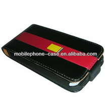 cell phone leather flip case for iphone 4/4s with silk screen and magnet clouse