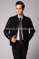 New Design Men's Leather Sleeve Wool Casual Jacket