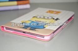 for ipad mini despicable me minion leather case,mobile phone leather case for ipad