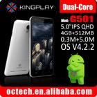 "KINGPLAY G501 android dual core 5"" dual sim 3g karbonn mobiles phones"