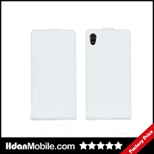 Wholesale White Genuine Leather Flip Cell Phone Case Cover For Sony Xperia Z1