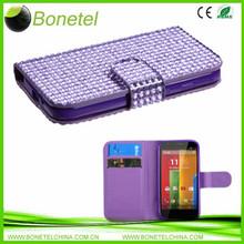Diamond Wallet Mobile Phone Case for Motorola Moto G XT1032 Pink