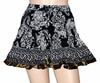 Hand Block Print Girls Black Colour Cotton Short Mini Skirt