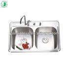 China factory best sale double sink bathroom vanity top or lowes double sink vanity / sink drain overflow JS532