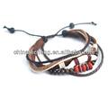 cheep bracelete grânulo de madeira com couro genuíno