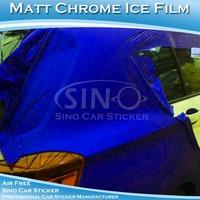 Application Dry stick and heat gun Air Bubble Free Matt Chrome Ice sticker for car parking 1.52x20m