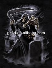 lenticolare immagine cartoon 3d di scheletro umano testa di morto