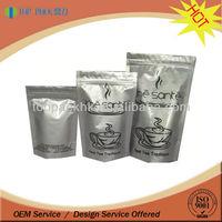 Aluminum foil stand up pouch/ resealable foil tea bag